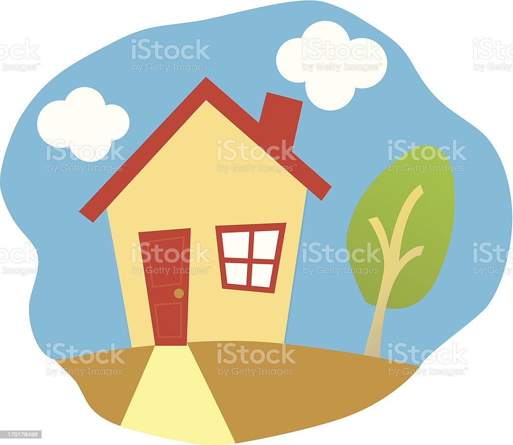 Happy House vector art illustration