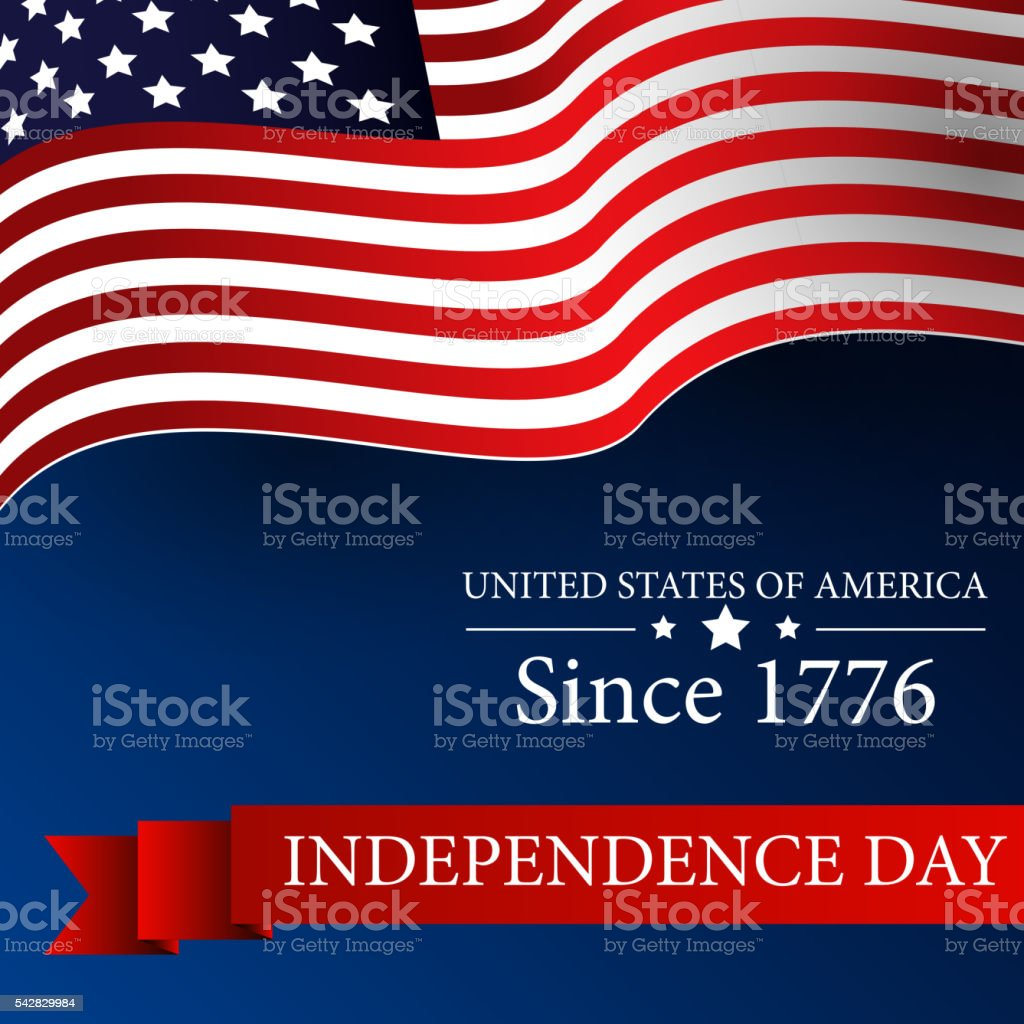 Happy Independence day 4th july with waving flag vector art illustration