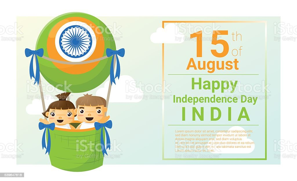 Happy independence day India 15th of August vector art illustration
