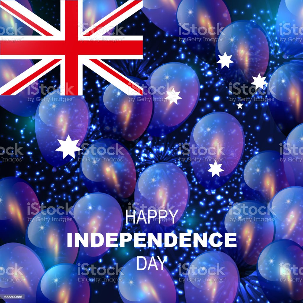 Happy Independence Day. National celebrating. Australian flag colors greeting card vector art illustration