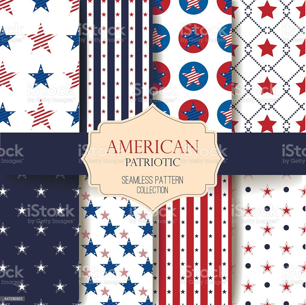 Happy Independence Day seamless pattern vector set. vector art illustration