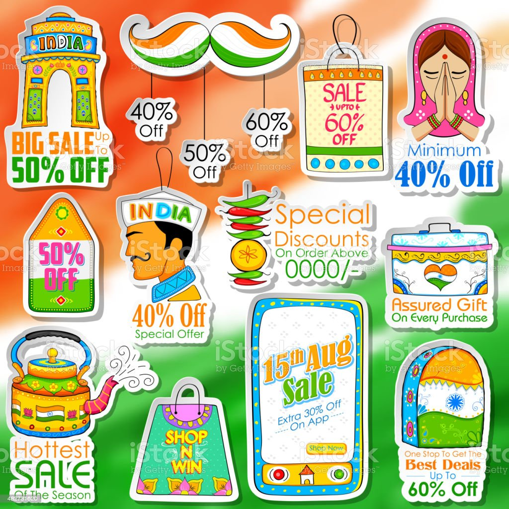 Happy Independence Day shopping sale vector art illustration