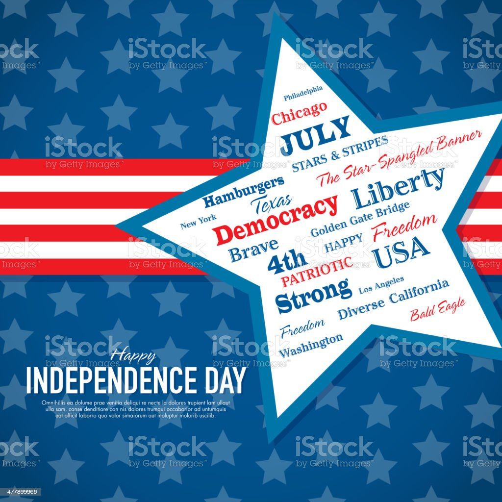 Happy Independence Day words Celebration greeting card design template vector art illustration