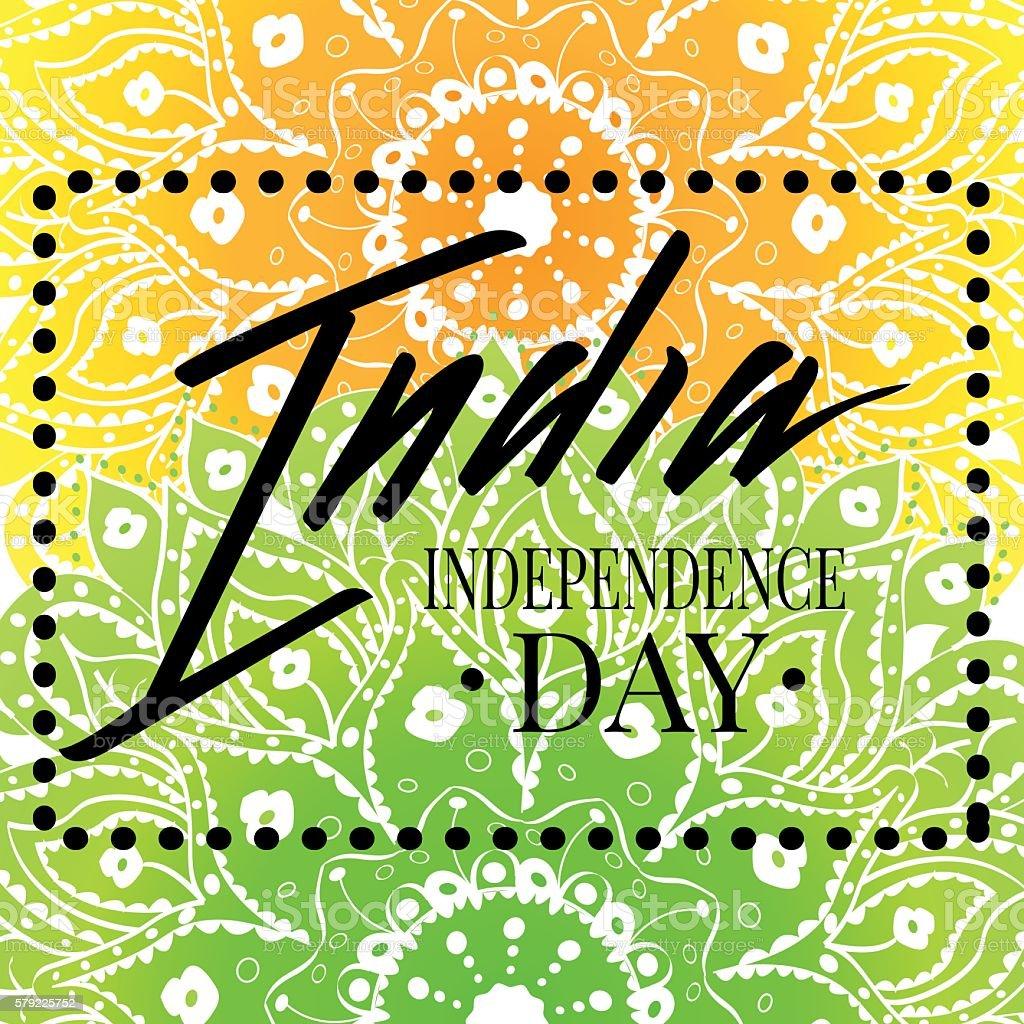 Happy India Independence Day postcard lettering stock vecteur libres de droits libre de droits