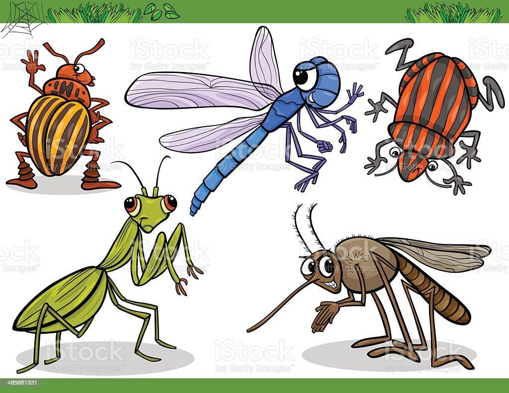 happy insects set cartoon illustration vector art illustration