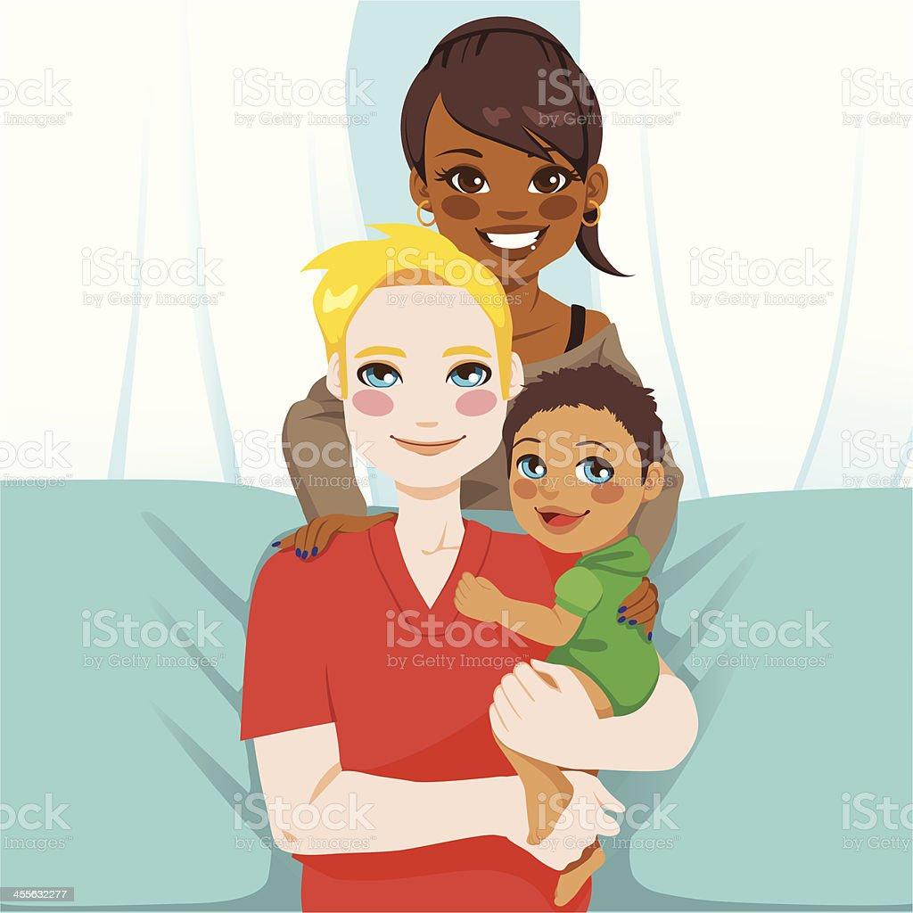 Happy Interracial Family royalty-free stock vector art