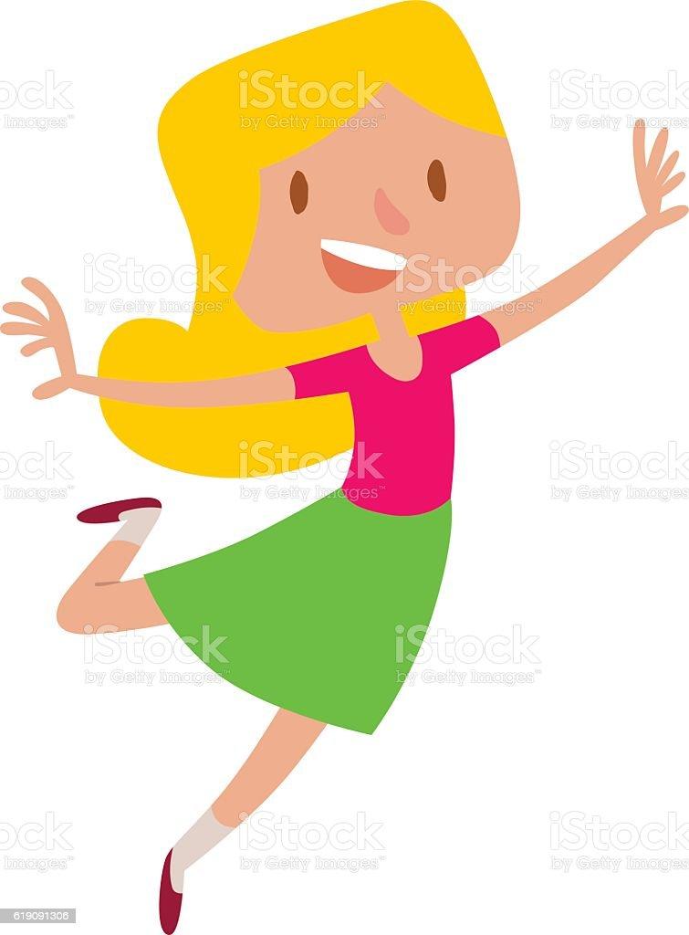 Happy Jumping Girl Vector stock vector art 619091306