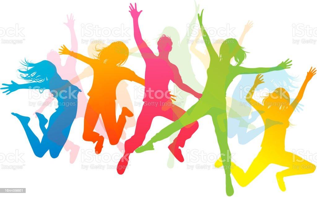 Happy Jumping People vector art illustration