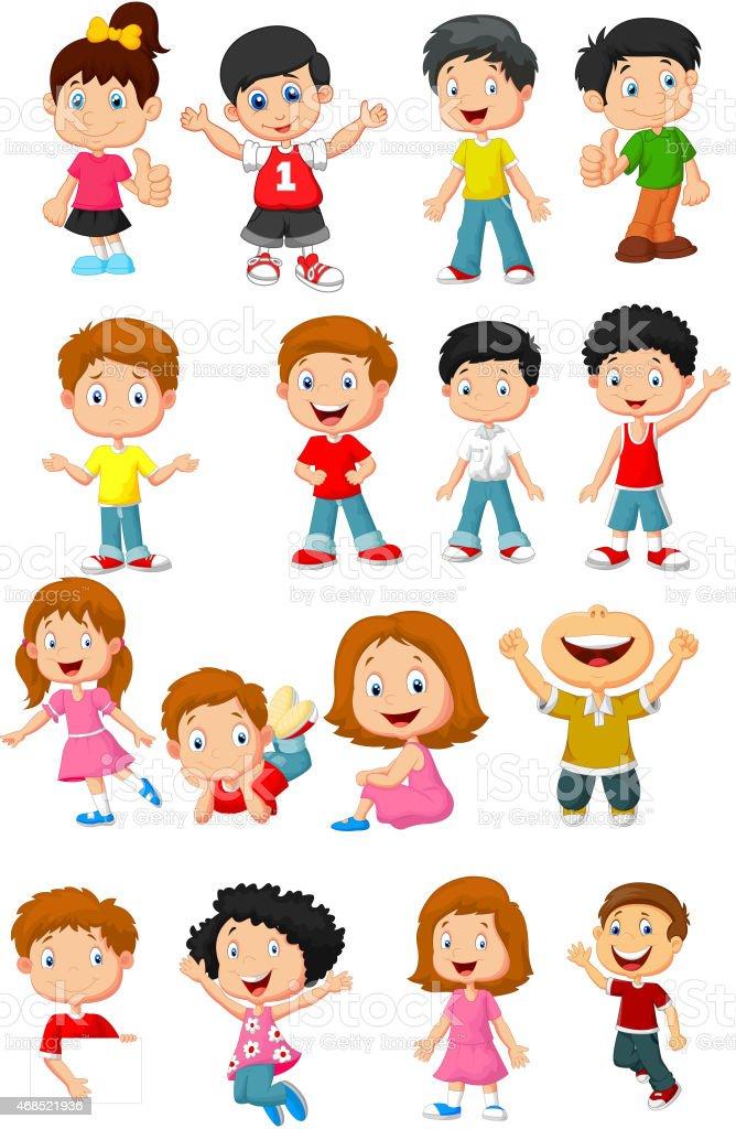 Happy kid cartoon collection vector art illustration
