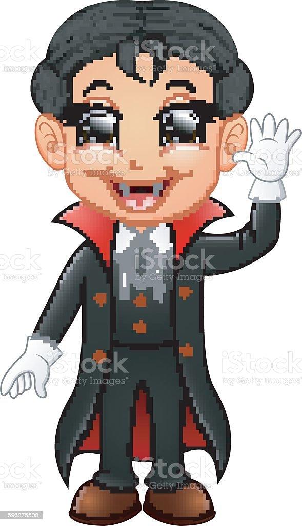 Happy kid wearing dracula costume vector art illustration