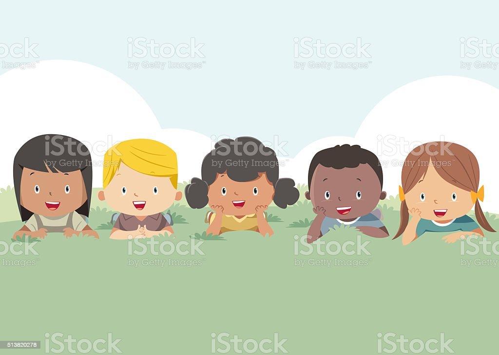 Happy kids around the globe vector art illustration