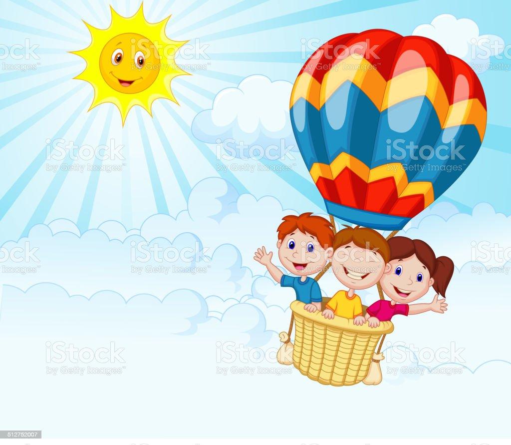 Happy kids cartoon riding a hot air balloon vector art illustration