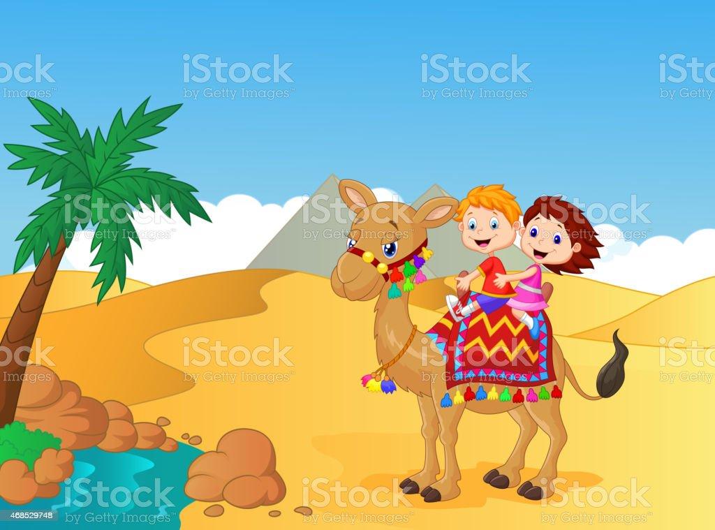 Happy kids cartoon riding camel vector art illustration