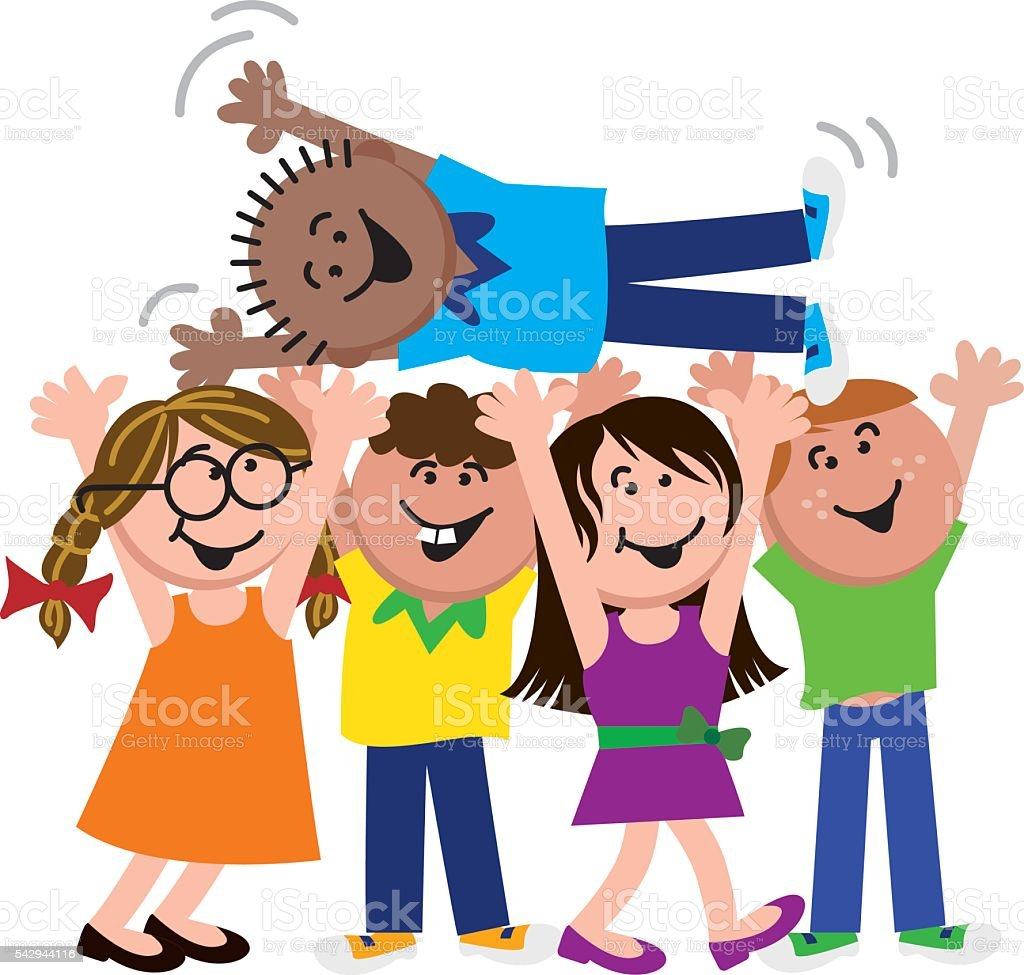 Happy Kids Celebrating Friend vector art illustration