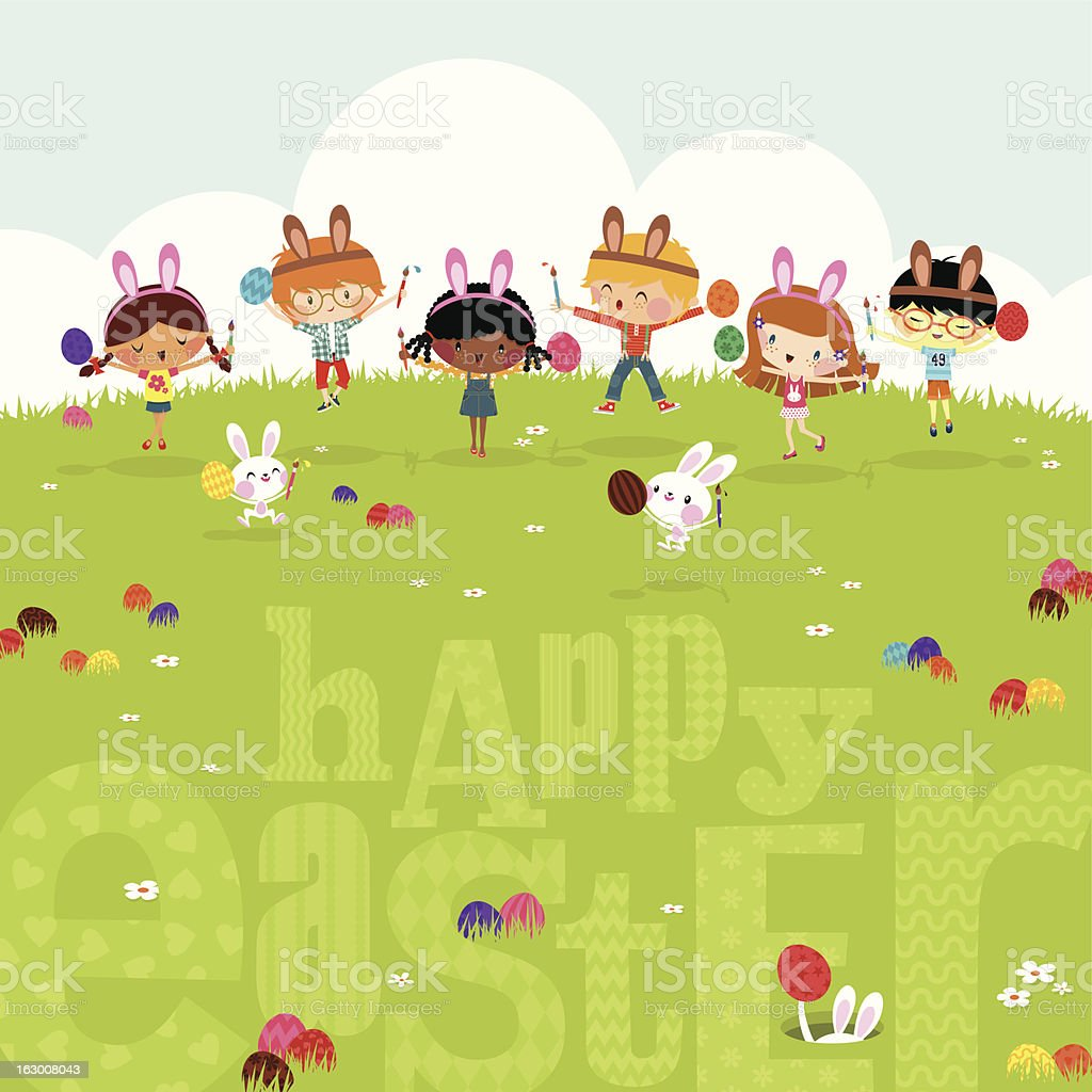 Happy kids easter eggs play bunny cute illustration vector myillo royalty-free stock vector art