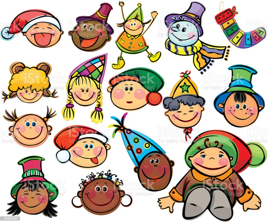 Happy kids  for xmas design royalty-free stock vector art