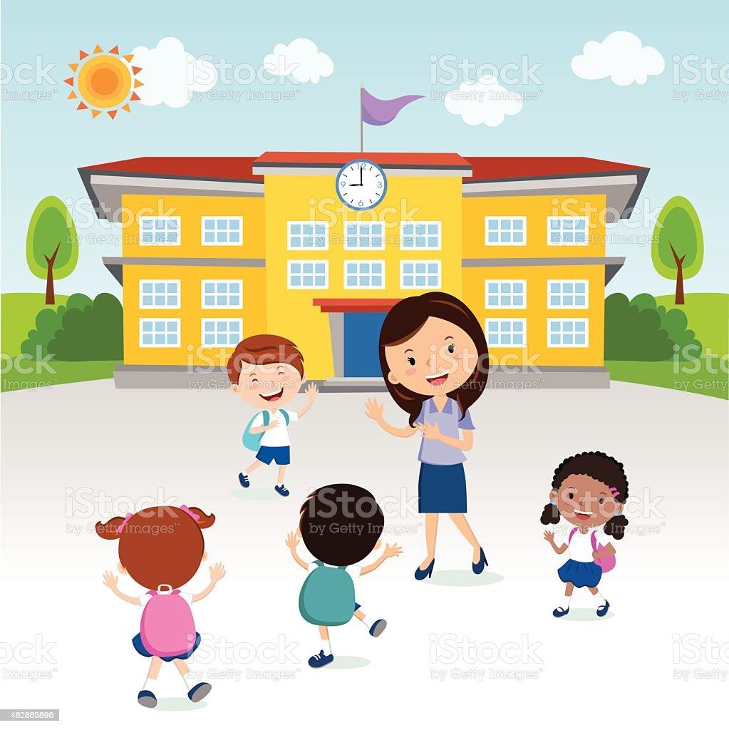 Happy kids go to school vector art illustration