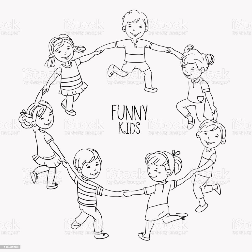 Happy kids holding hands and dancing in a circle vector art illustration