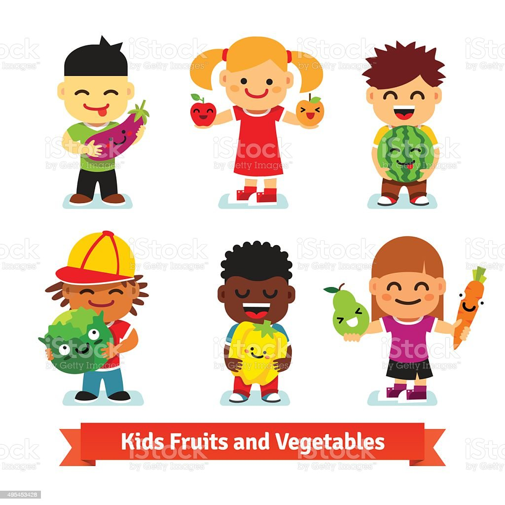 Happy kids holding smiling fruits and vegetables vector art illustration