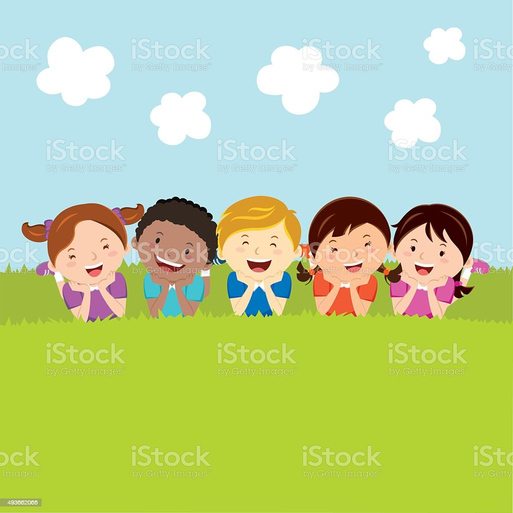 Happy kids lying on the grass vector art illustration