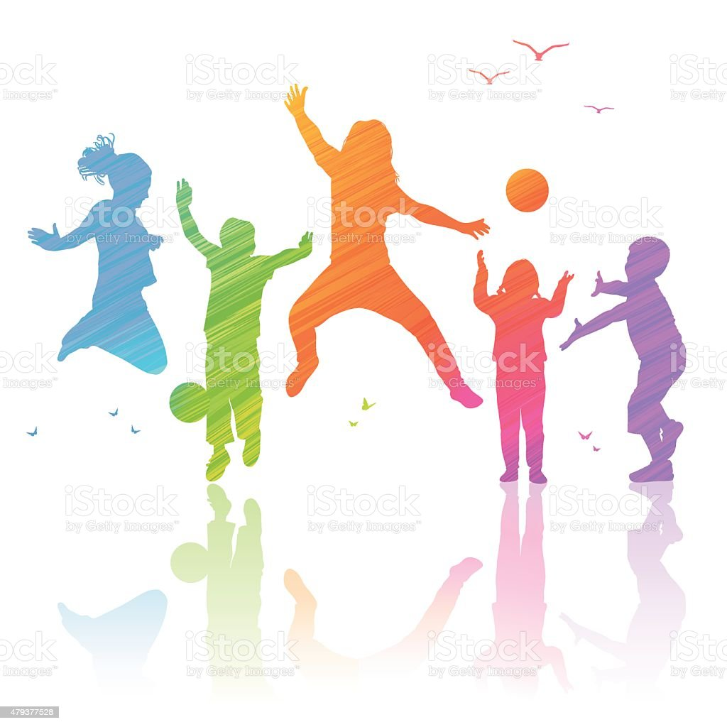 Happy Kids Playing, illustration with colored silhouettes. vector art illustration