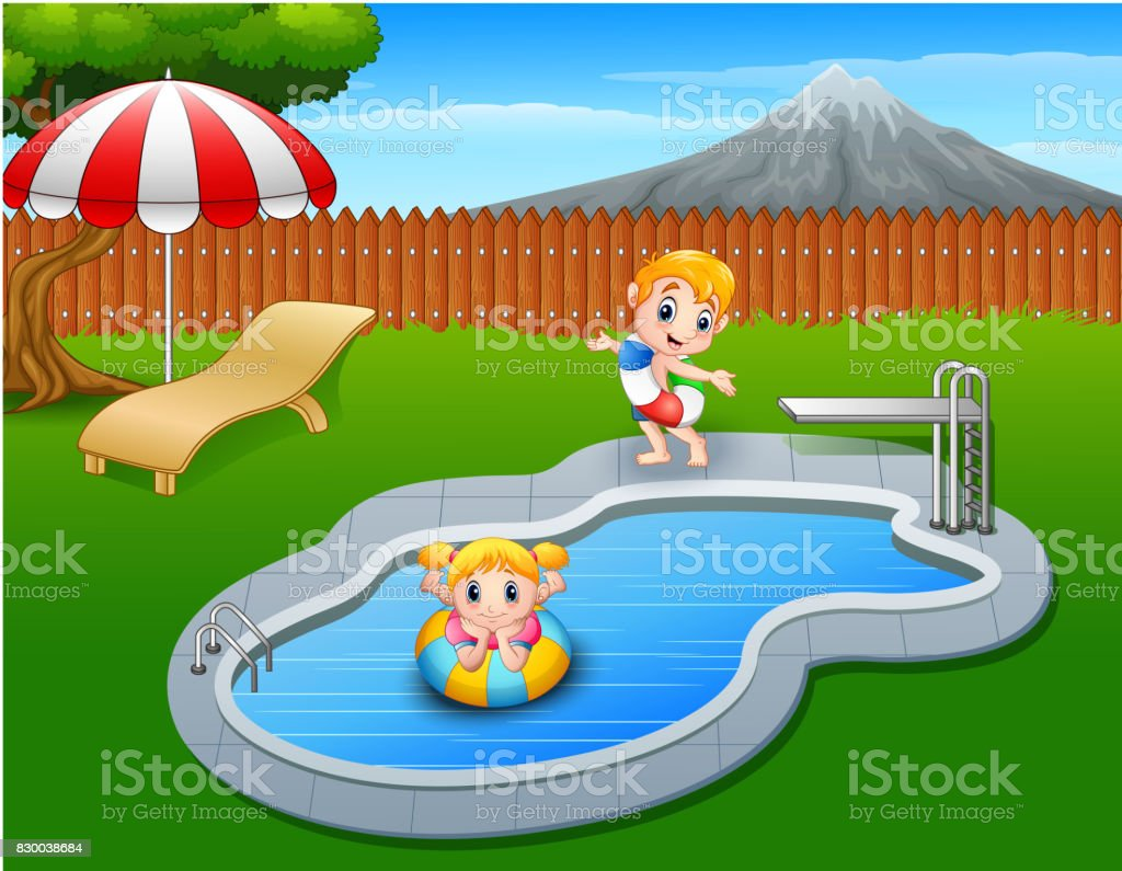Happy kids playing in swimming pool vector art illustration