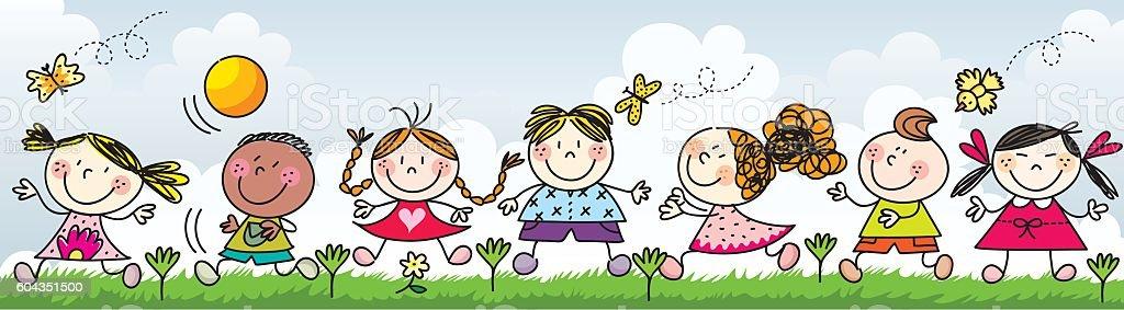 Happy kids playing on the grass- Illustration vector art illustration