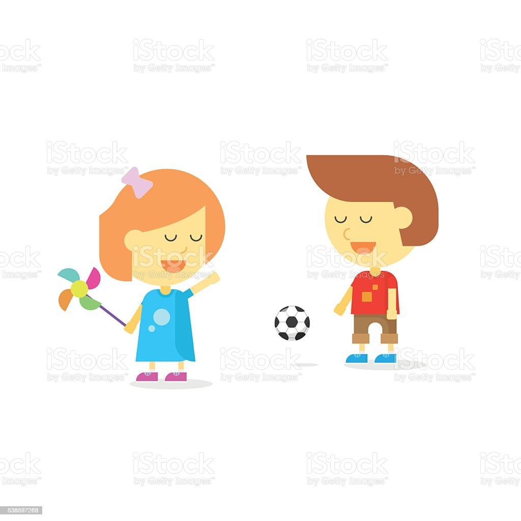 Happy kids playing isolated on white vector illustration, smiling...