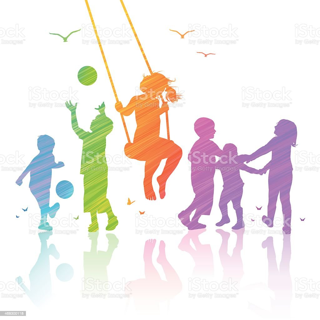 Happy Kids Playing vector art illustration