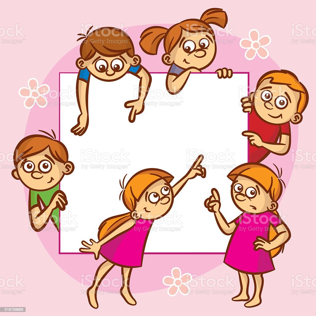 Happy kids pointing placard frame vector art illustration