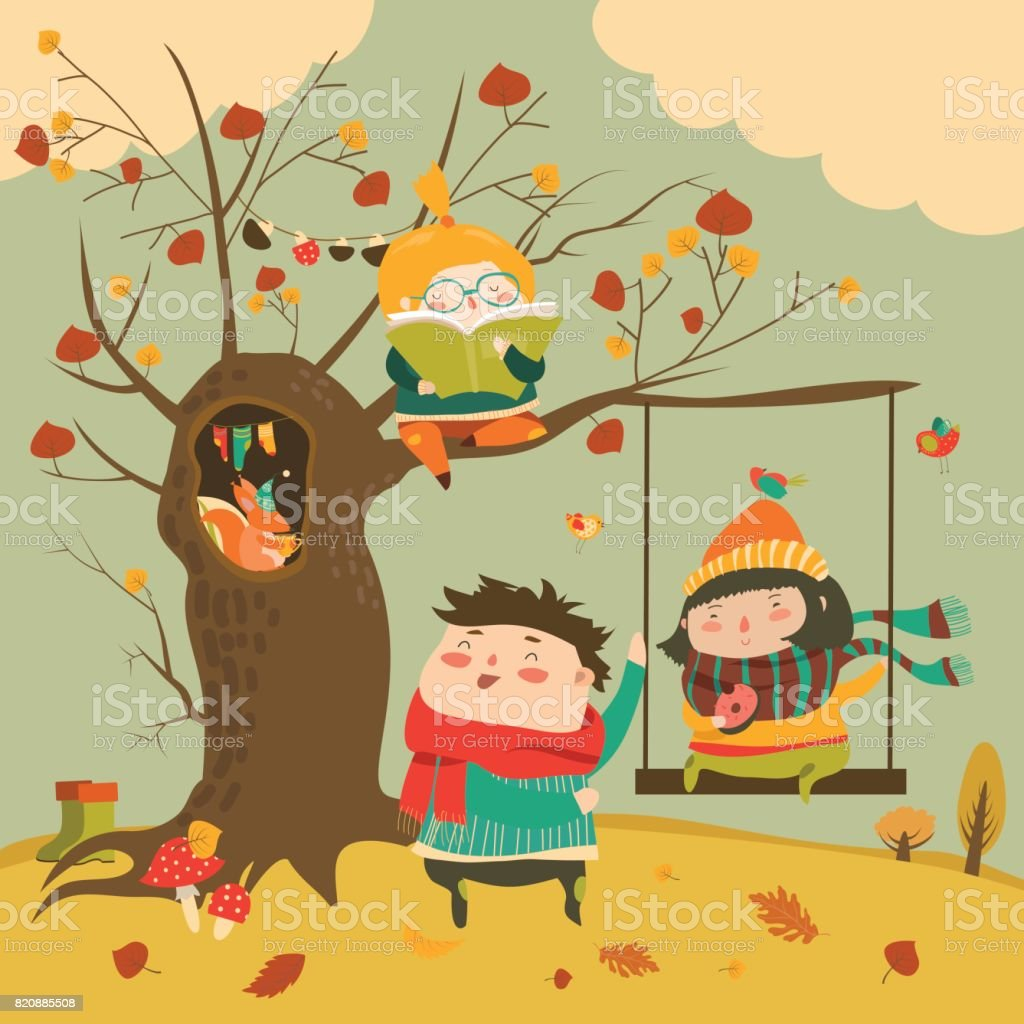Happy kids ride on a swing in the autumn forest vector art illustration