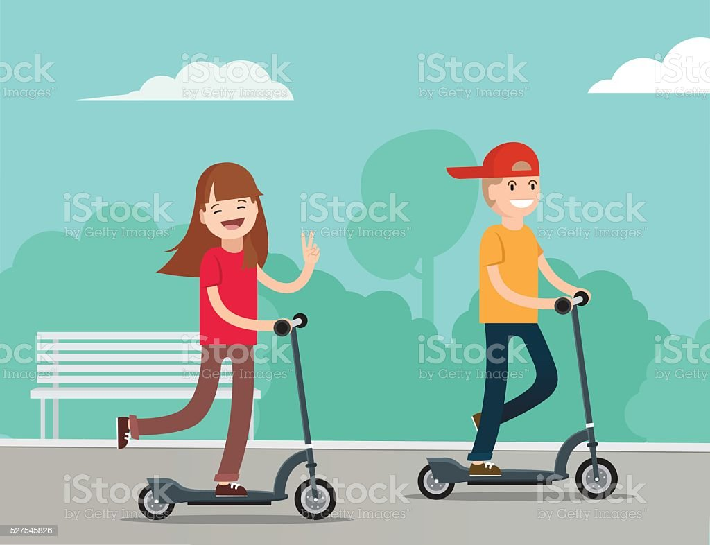 Happy kids riding kick scooters in public park. vector art illustration