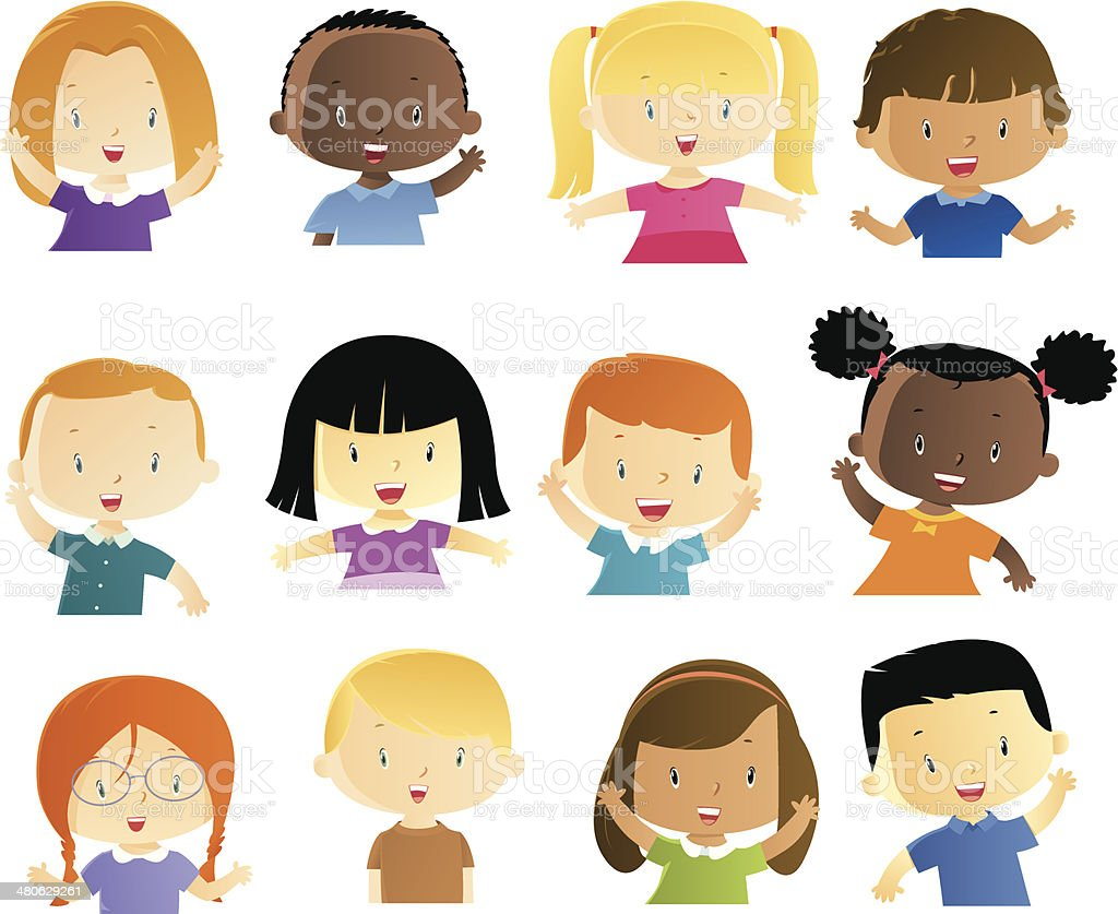 Happy  kids vector art illustration