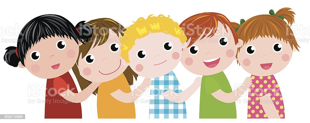 happy kids vector art illustration