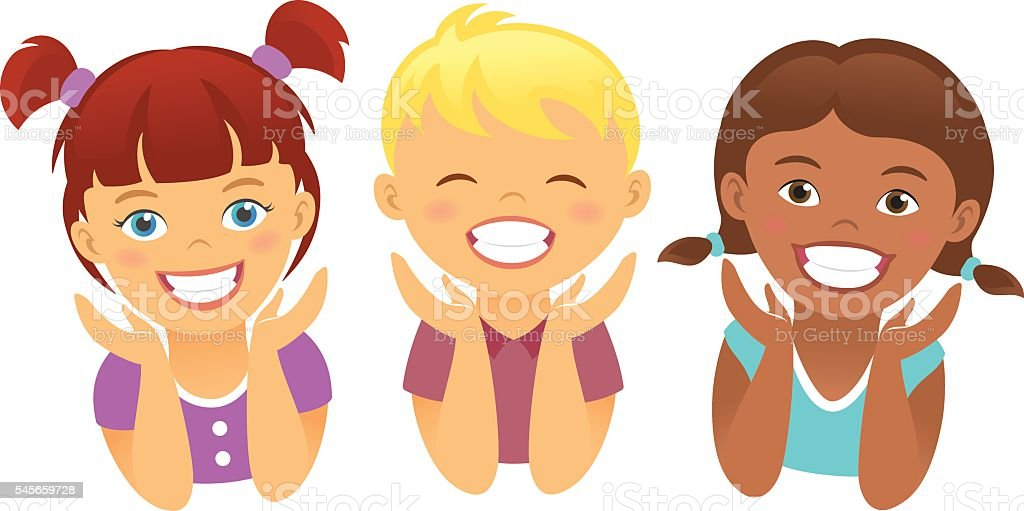 Happy kids with beautiful smile teeth children dentistry vector art illustration