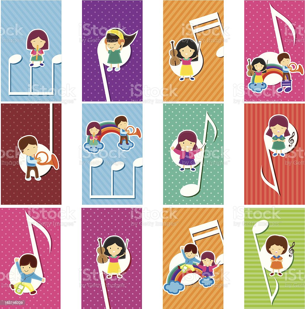 Happy kids with music notes vector art illustration