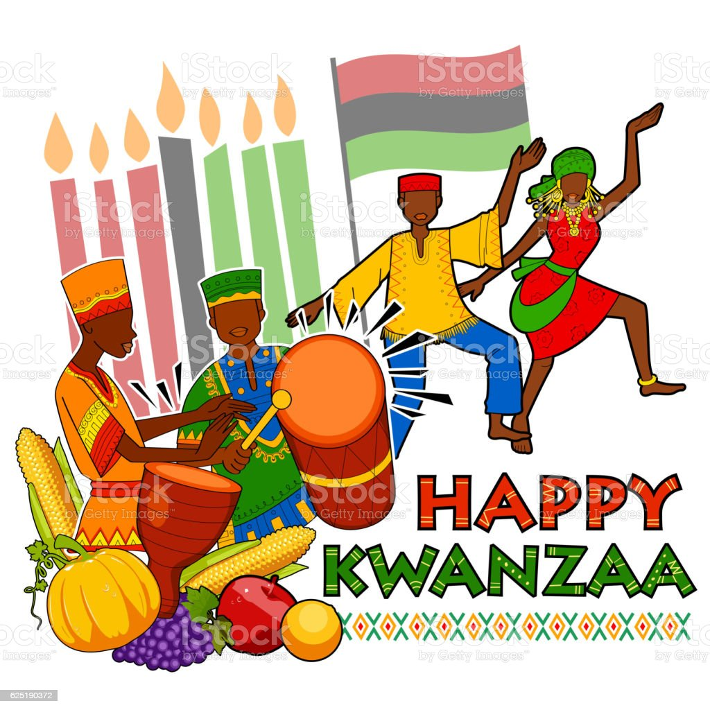 Happy Kwanzaa greetings for celebration of African American holiday festival vector art illustration