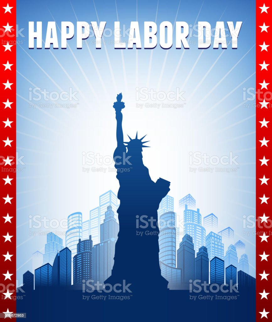 Happy Labor Day on Skyline Background vector art illustration