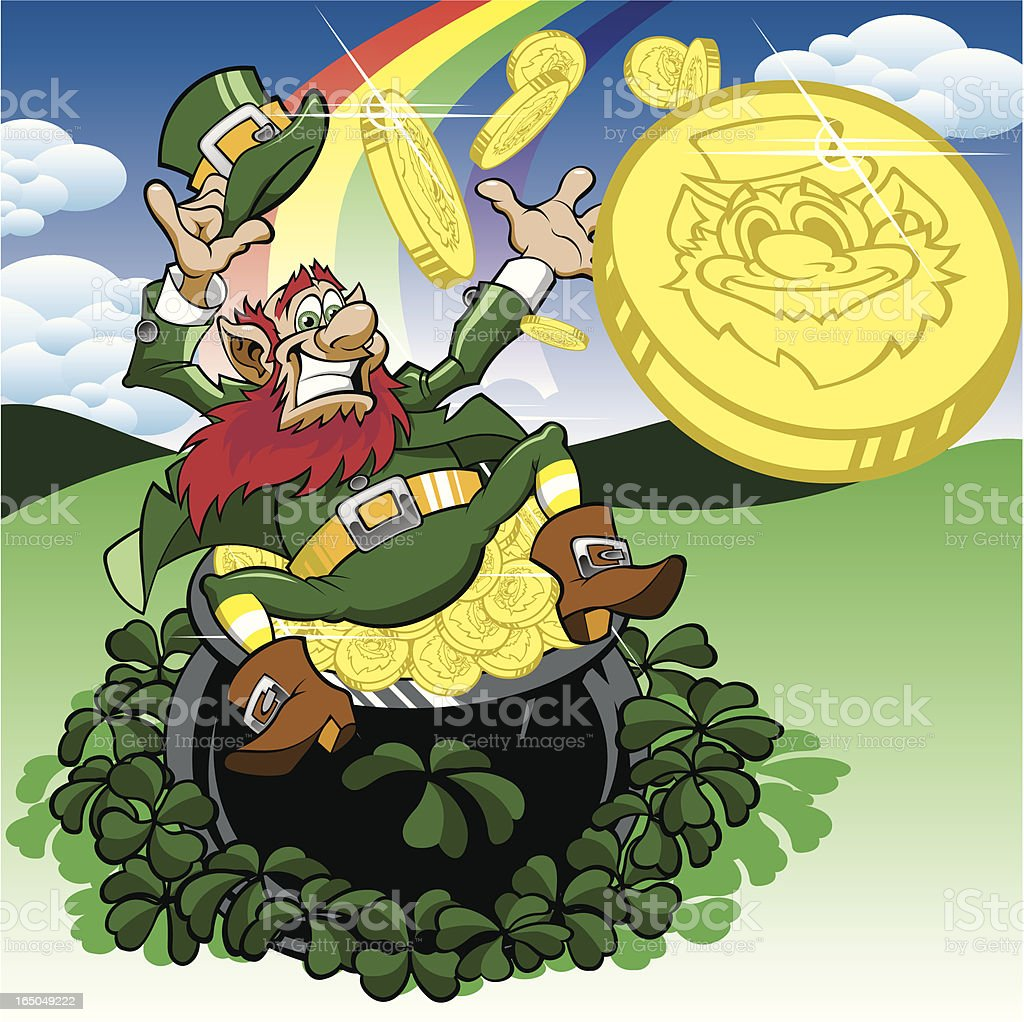 Happy Leprechaun Sitting With Pot of Gold and Rainbow royalty-free stock vector art