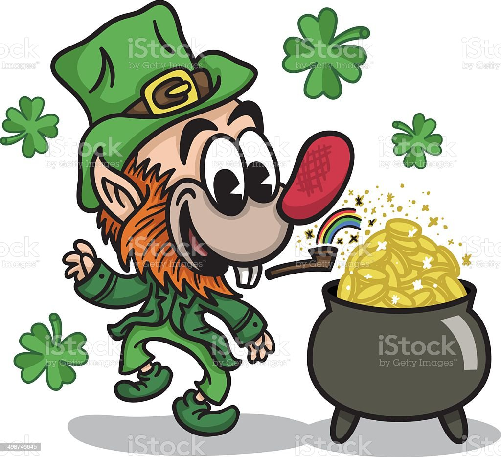 Happy Leprechaun with Pot of Gold royalty-free stock vector art