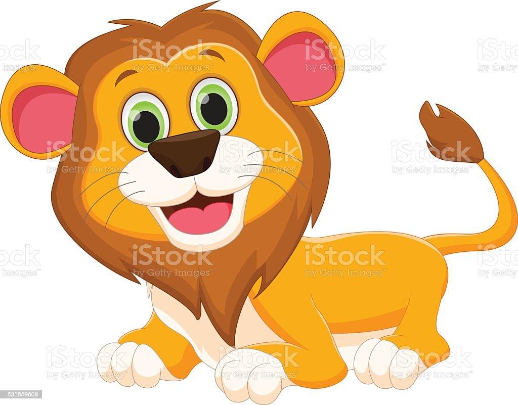 happy lion cartoon vector art illustration