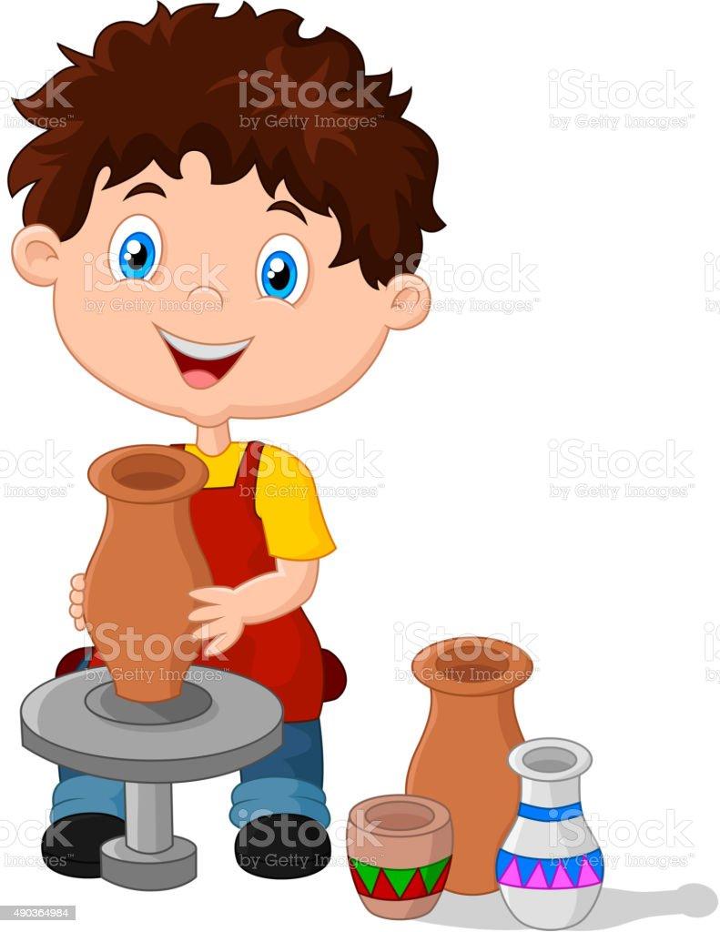 Happy little boy creating a vase on a pottery wheel vector art illustration