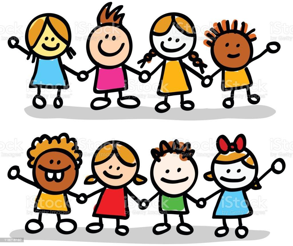 happy little children group cartoon vector art illustration