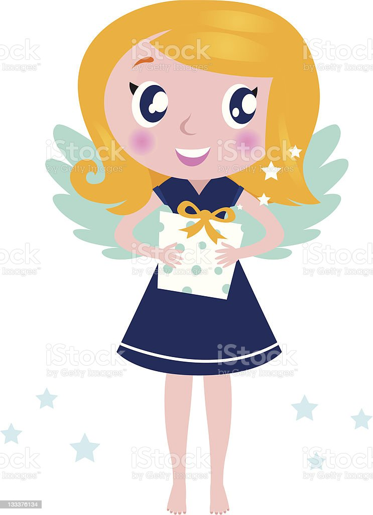 Happy little christmas angel Child with present isolated on white royalty-free stock vector art