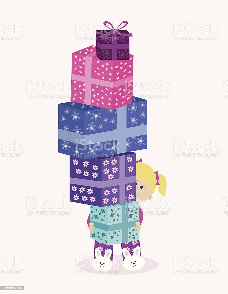 Happy Little Girl Holding a Stack of Presents. royalty-free stock vector art