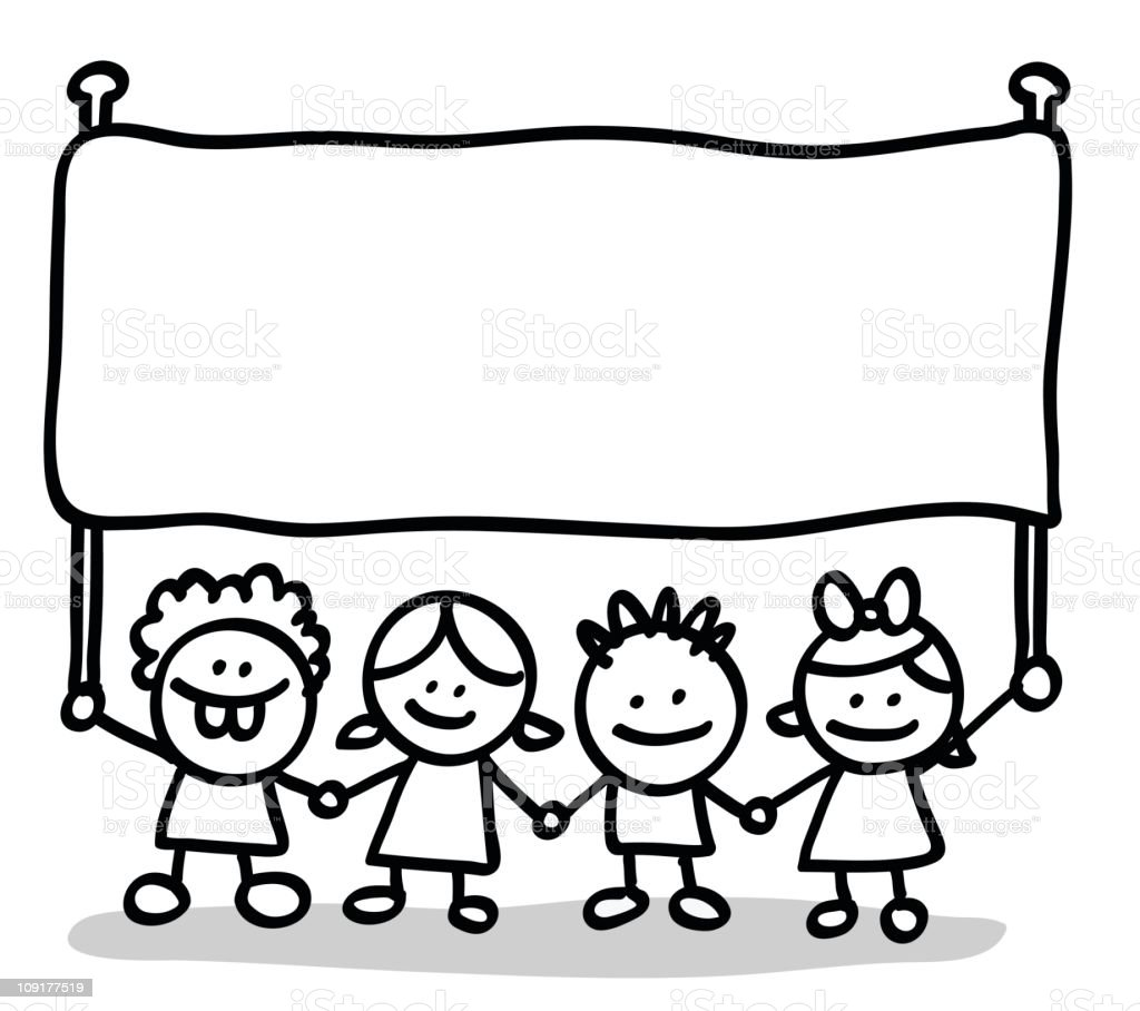 happy little kid friends holding empty blank banner cartoon illustration royalty-free stock vector art