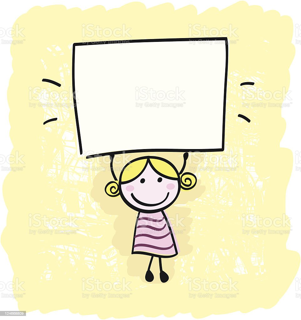 Happy little kid girl holding empty blank banner sign royalty-free stock vector art