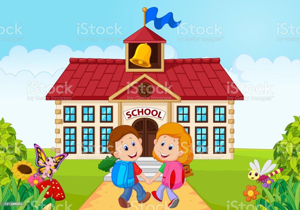 Happy little kids going to school vector art illustration