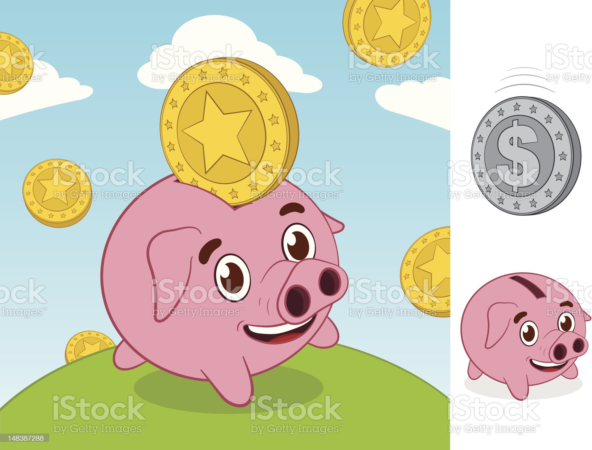 Happy little piggy bank and gold coin royalty-free stock vector art