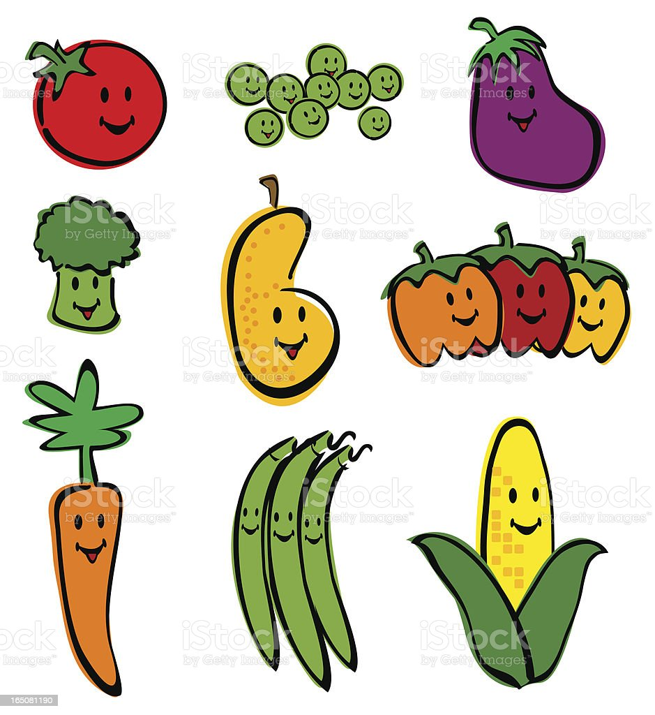 Happy Little Vegetable Characters royalty-free stock vector art